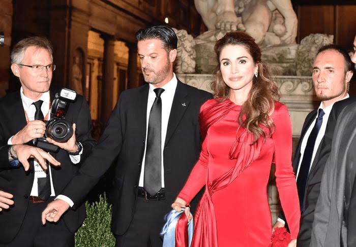 La regina Rania di Giordania i n Palazzo Vecchio