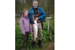 Miss Rachel Stewart with a nice spring salmon from the River North Esk