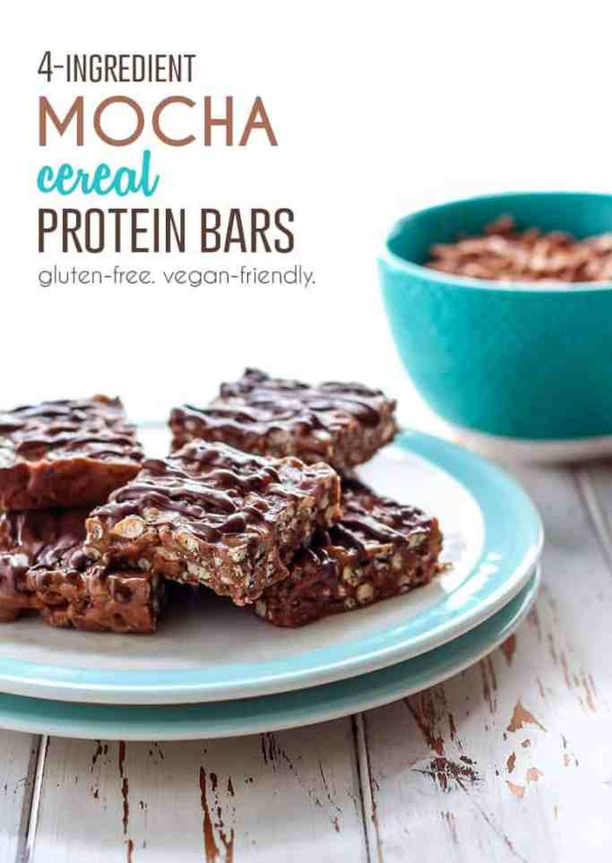 Just 4 ingredients is all you need to make these chocolatey Mocha Cereal Protein Bars. A perfect grab-n-go breakfast option or workout snack. [ made in partnership with NOW Foods ]