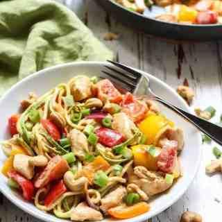 Spicy Chicken Cashew Zucchini Noodles