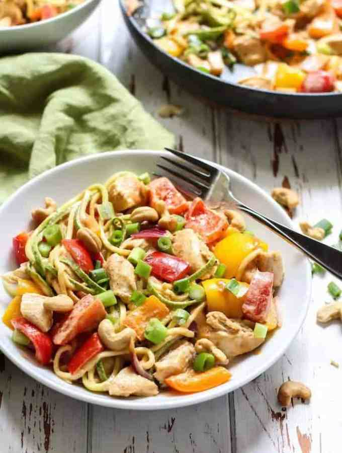 Spicy Chicken Cashew Zucchini Noodles