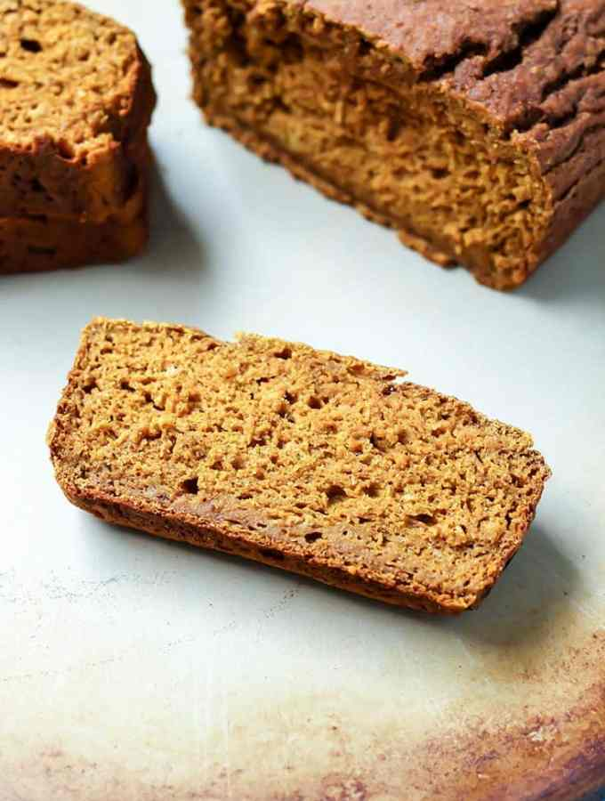 Simple, wholesome ingredients for this pumpkin bread. Whole grain flour, dairy-free and no refined sugars in this recipe!