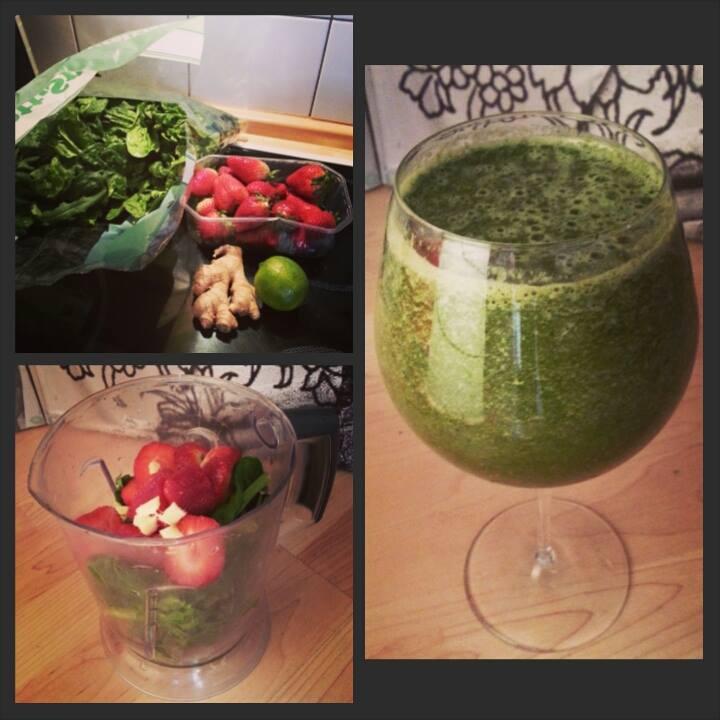 Grüner Smoothie: Erdbeer-Limette-Ingwer-Spinat
