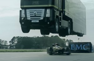 Truck's Record Breaking 83 ft Jump Over a Moving F1 Car