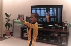 Kid Perfectly Reenacts Bruce Lee's Nunchaku Scene