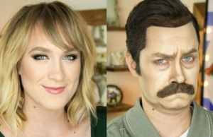 Makeup Artist Transforms Herself Into Ron Swanson