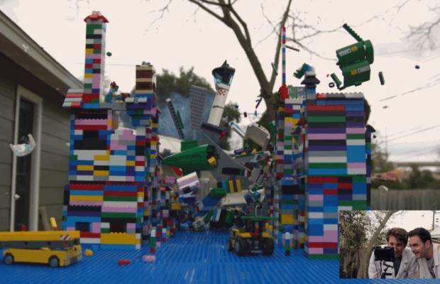 LEGO Plane Crashing Into a LEGO City in Super Slow Motion