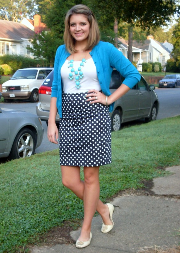 J. Crew bubble necklace and polka dot skirt