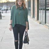free people split back poncho, black skinny jeans, lace up flats via fizzandfrosting.com
