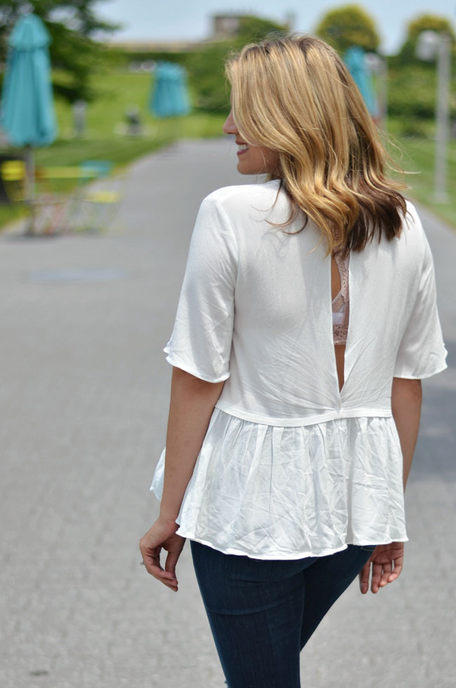 open back peplum top with lace bralette | www.fizzandfrosting.com
