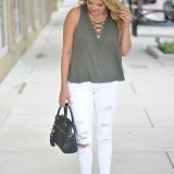 white jeans for fall - olive lace-up tank top with white distressed jeans | www.fizzandfrosting.com