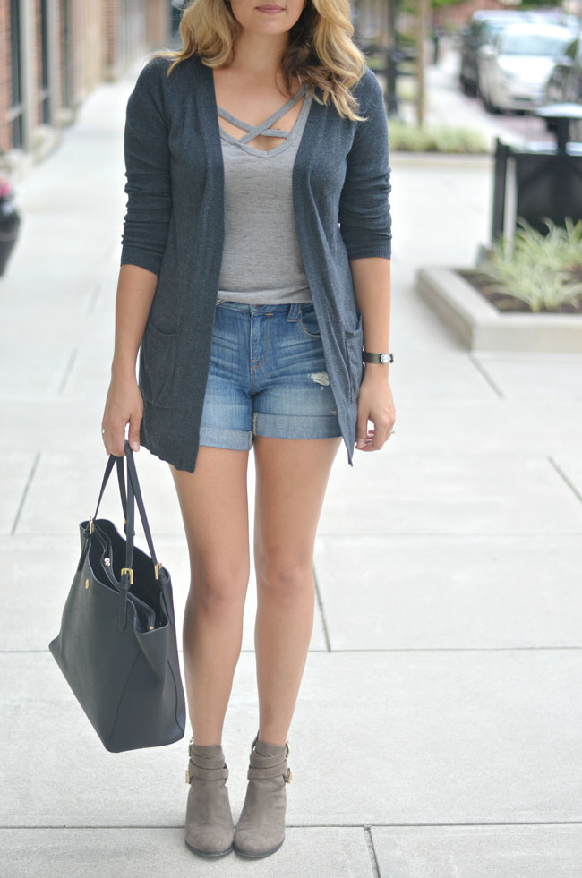 cute fall outfit - long gray cardigan with distressed denim shorts and booties | www.fizzandfrosting.com