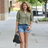 early fall outfit - olive tunic button down, distressed denim shorts, spotted lace-up flats | www.fizzandfrosting.com
