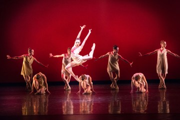 Nathalia Arja and Miami City Ballet dancers in Symphonic Dances at Lincoln Center's David H. Koch Theater. Choreography by Alexei Ratmansky. Photo © Sasha Iziliaev