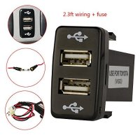 Mictuning Toyota USB Charger for Toyota Switch Plant - with Fuse 2.3ft Wiring 5V 2.1/1.2A Dual USB Power Socket