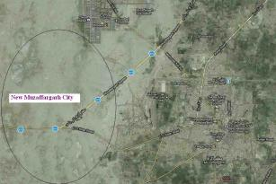 Satellite Map Muzaffargarh city & New Muzaffargarh City location