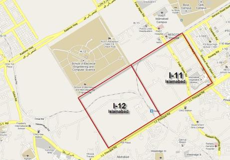 Map of Sector I-11 and I-12 Islamabad
