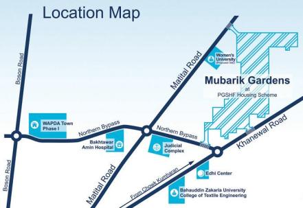 PGSHF Multan (Mubarik Gardens) Location Plan