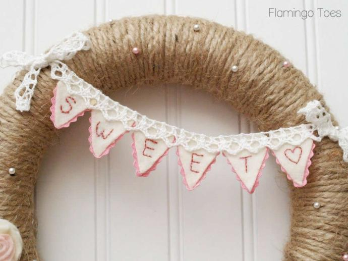 Pink Bunting Wreath