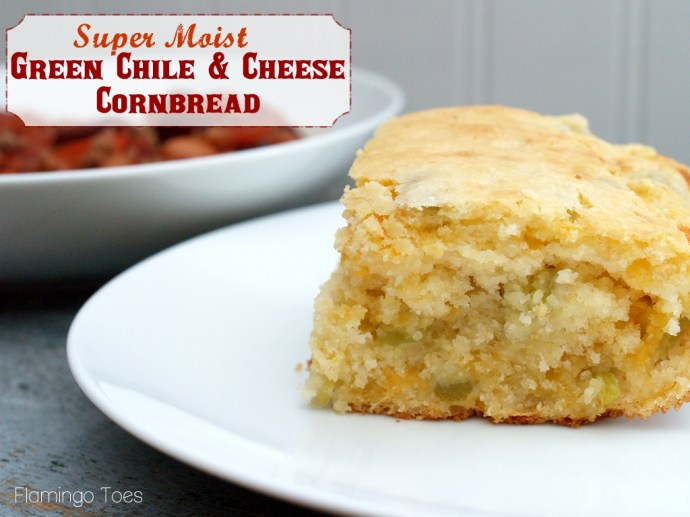 Super Moist Green Chile and Cheese Cornbread -Flamingo Toes