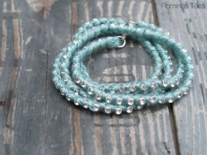 Yarn and Rhinestone Bracelet