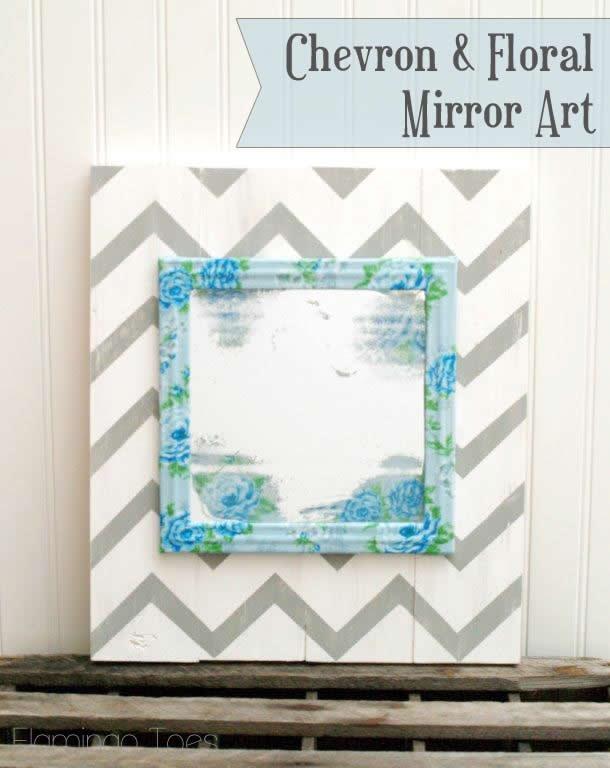 Chevron and Floral Mirror Art