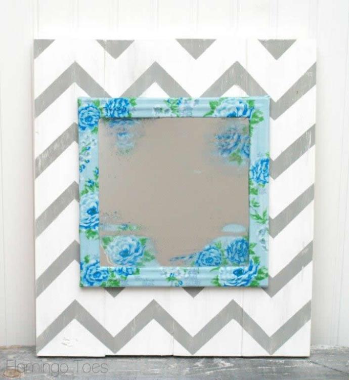 Floral Mirror and Chevron Art
