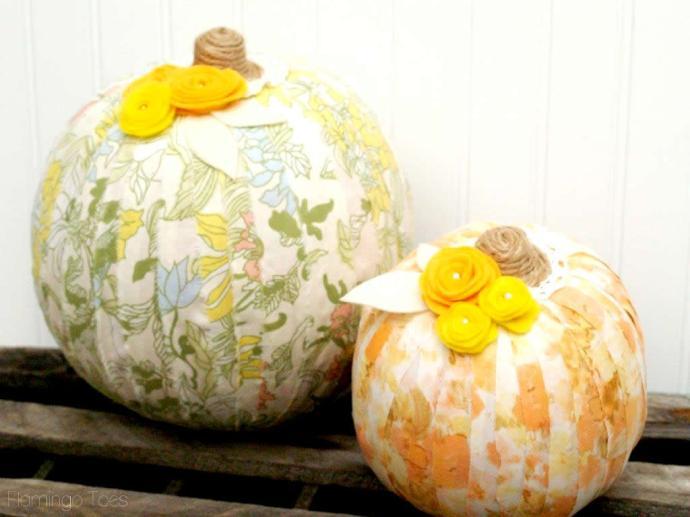 fabric wrapped pumpkin DIY