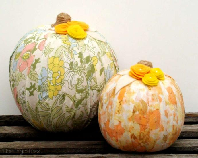 vintage sheet and felt pumpkins