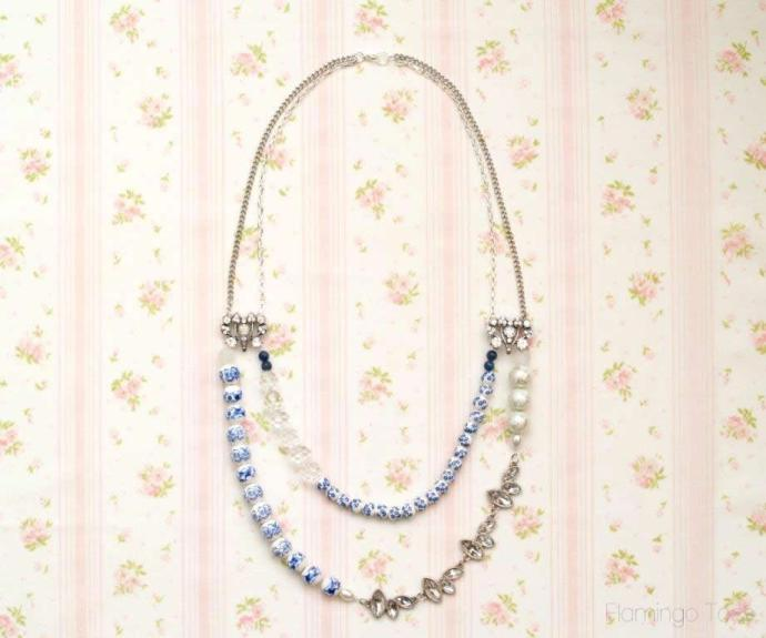 vintage style double strand necklace