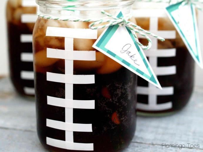 Football Mason Jar Drinks
