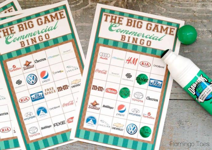 Super Bowl Commercial Bingo