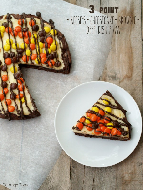 3 Point Reeses Cheesecake Brownie Pizza