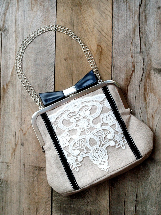Lace and Linen Bow Clutch