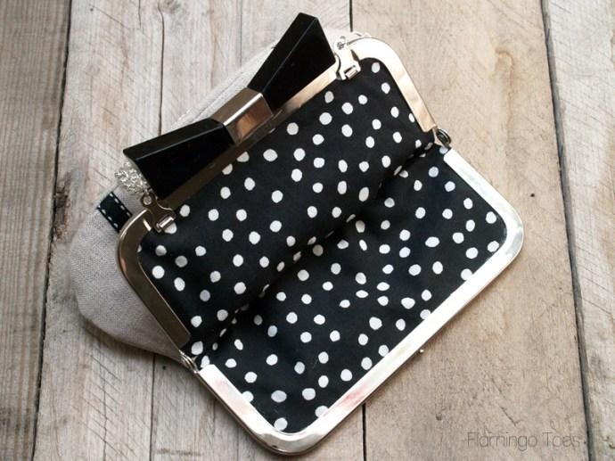 black and white polkadot lining