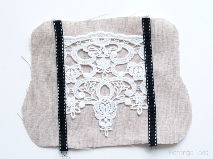 sewing ribbon on clutch