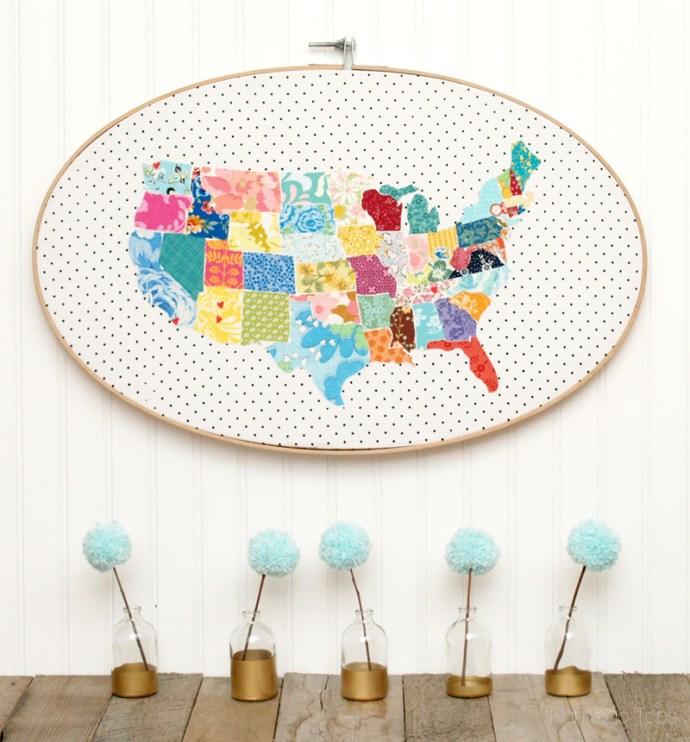 Colorful US Map Hoop Art