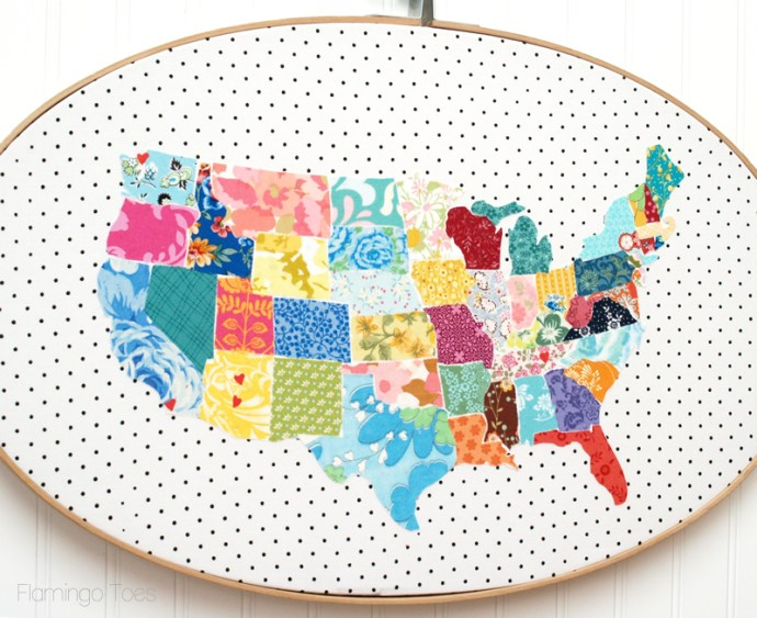 Large Fabric Map Hoop