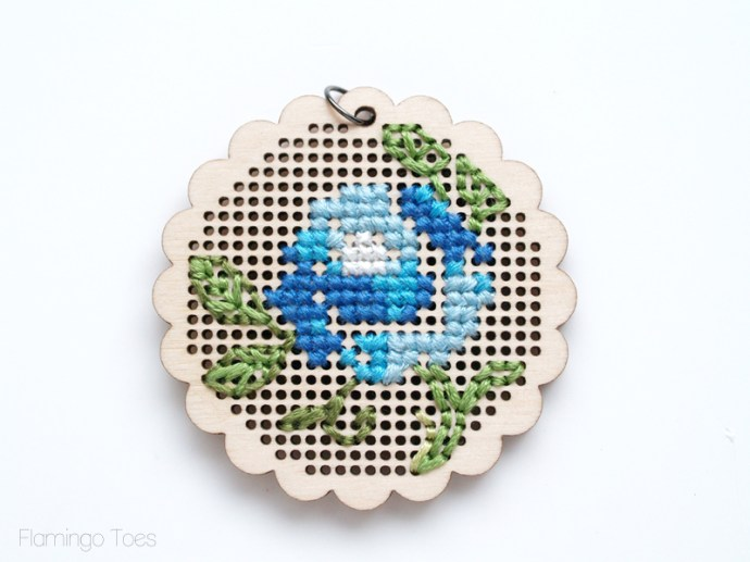 cross stitch flower and leaves