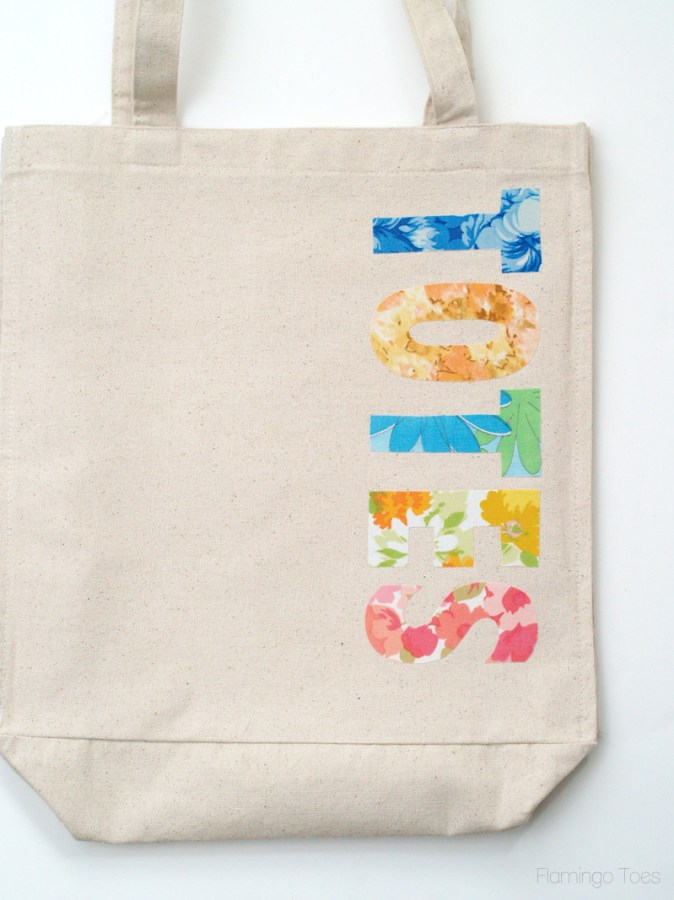 ironing letters on tote