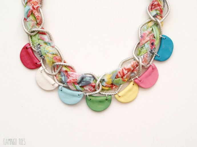 clay scallops on necklace chain