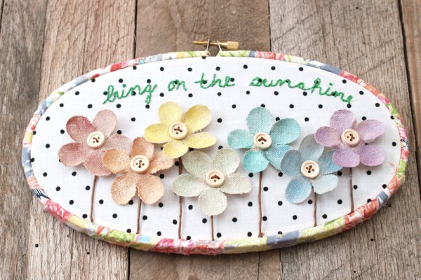 Summer Burlap Flower Hoop Art
