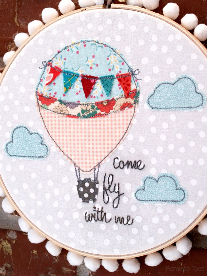 Hot Air Balloon Embroidery Pattern Hoop