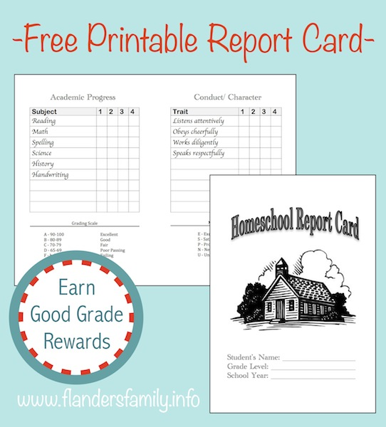 home school report cards free printable the flanders family website. Black Bedroom Furniture Sets. Home Design Ideas