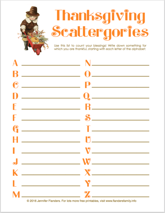 Thanksgiving Scattergories Count Your Blessings The