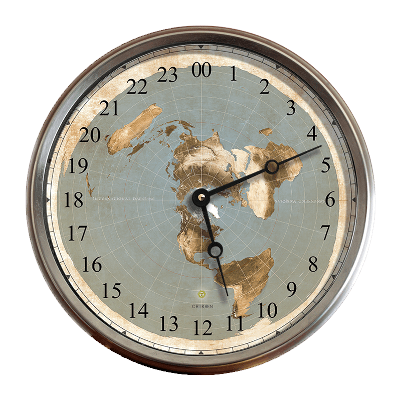 12 5    Flat Earth Map 24 Hour Wall Clock     Flat Earth Clock Shop