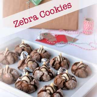 Zebra Cookies. Ever popular chocolate cookie with a Hershey's kiss in the middle. A holiday tradition!
