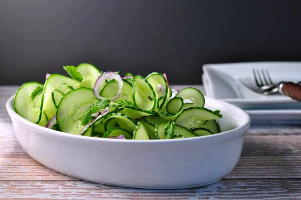 Cucumber Mint Salad with Red Onion and Thai Dressing |www ...