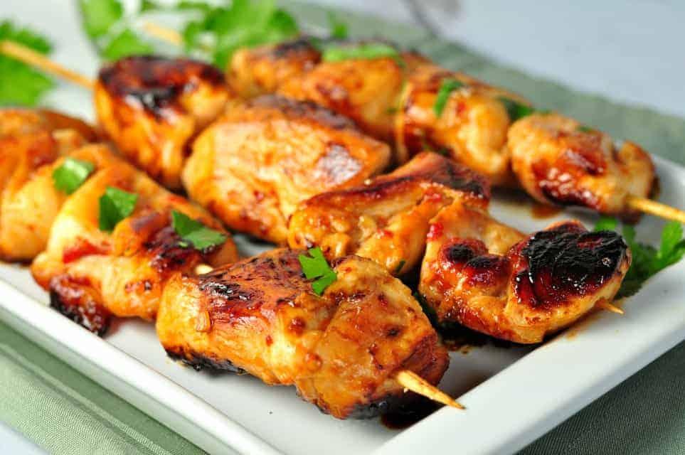 garlic glazed chicken and harissa chicken and oh so good