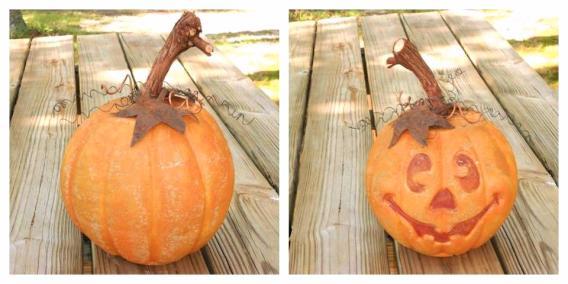 Mary Everett's concrete molded pumpkin